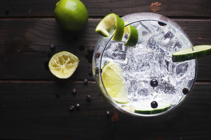 Taça de drink com gin e limões