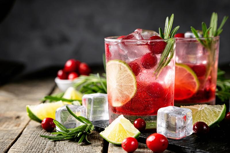 Dois copos com drinks, gelos em cubos e limões
