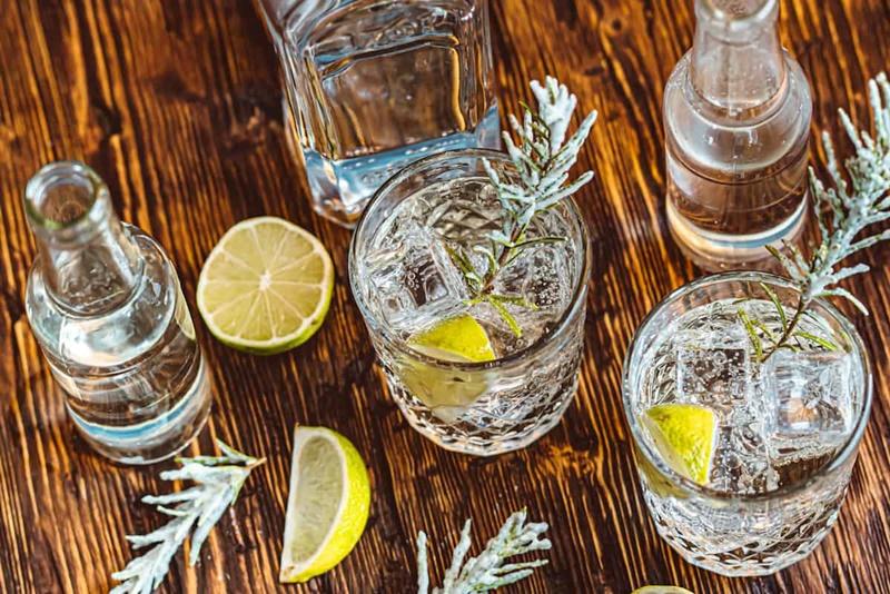 Copos com gin e água tônica