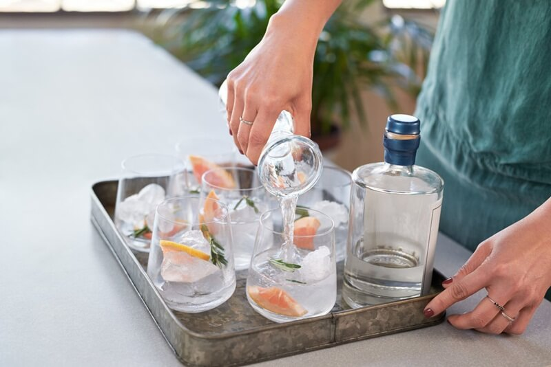 gin saborizado em copos com alecrim, frutas citricas