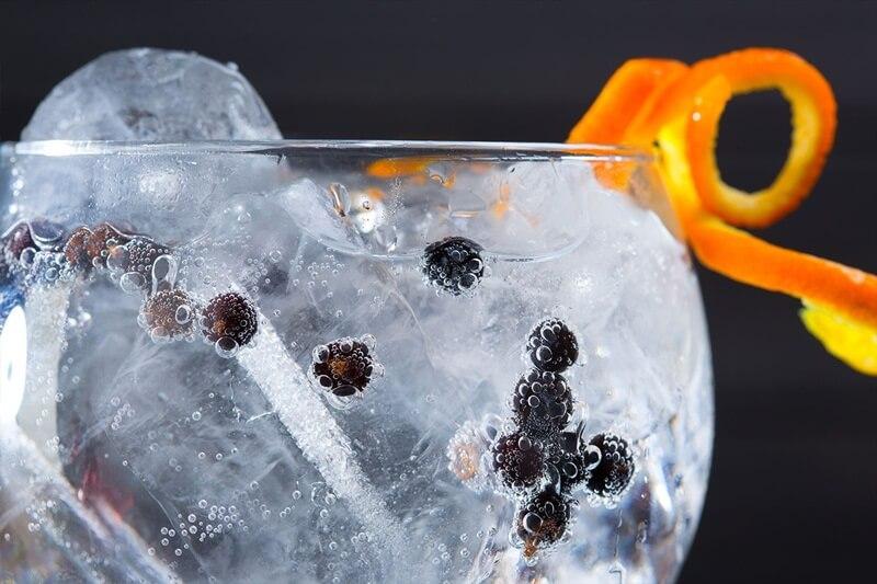 Gin e gelo em Taça aromatizada por fruta cítrica e frutas pretas