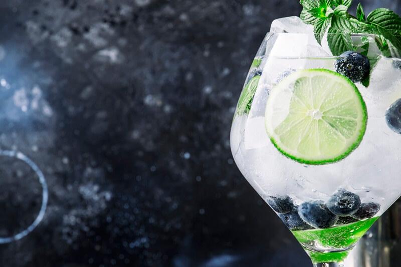 Gin com limão gelo e hortelã pimenta
