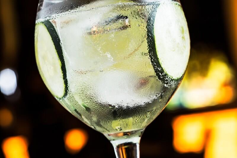 Gin saborizado com água tônica, rodelas de limão em taça highball com bastante gelo