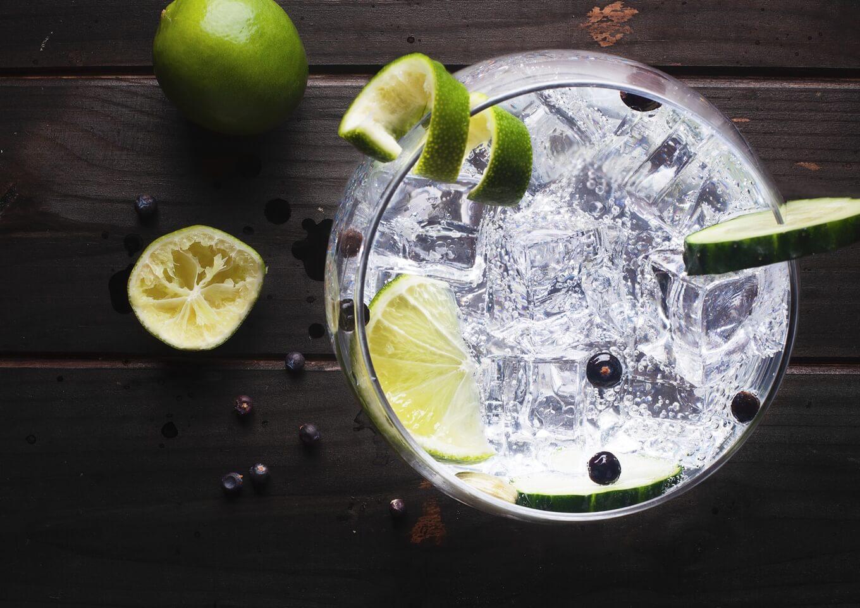 gin com limão gelo em taça grande